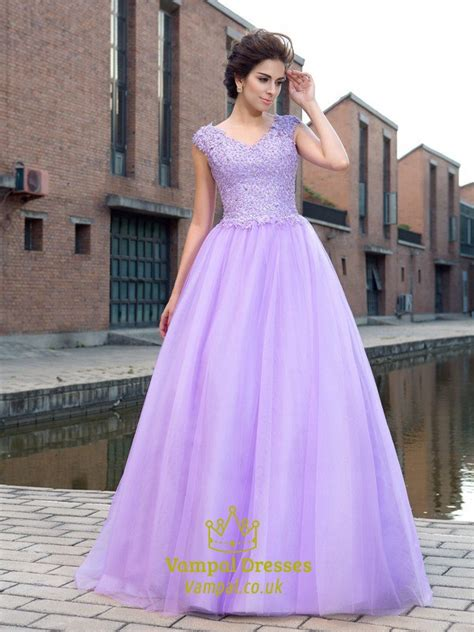 lilac    neck cap sleeve beaded applique tulle long