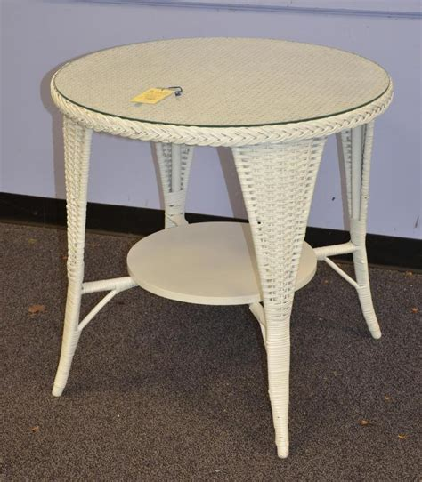 White Wicker Patio Table White Wicker Deco Patio Table Glass Top Lower Shelf P