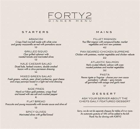 dinner menus for 12 dinner menu forty2 supperclub
