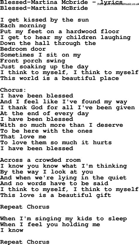 song lyrics martina mcbride song lyrics for blessed martina mcbride