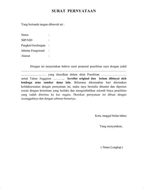 format surat pernyataan contoh surat pernyataan hibah penelitian