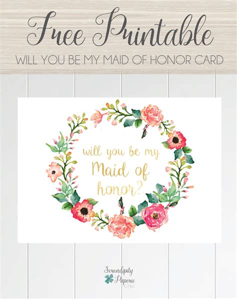 bridesmaids card template free printable will you be my of honor card floral