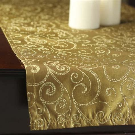 Gold Table Runners by Antique Glitter Swirls Satin Table Runner Table Linens