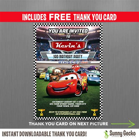 Cars Invitation Card Template Free