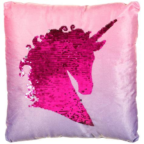 reversible sequin unicorn cushion soft furnishings bm