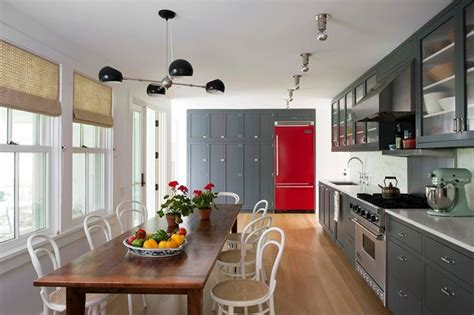 fabulous red fridge pops   gray cabinets