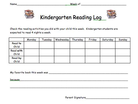 kindergarten reading log template kindergarten monthly calendar printable calendar