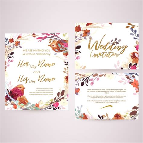 Wedding Card Vector by Floral Wedding Card Vector Premium