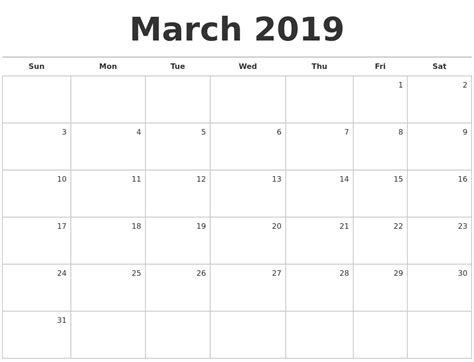 printable calendar april 2018 to march 2019 march 2019 blank monthly calendar
