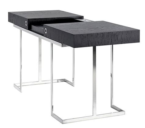 Simple Black Desk by Desk With Base In Polished Inox And Top In Black Tamo Wood