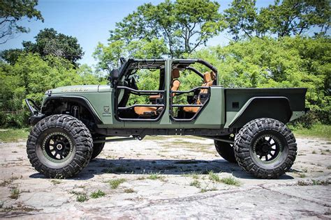 jeep wrangler pickup jeep jk crew bruiser on 44 s with a truck bed and four doors