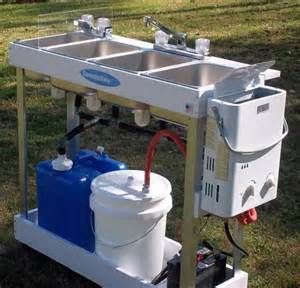 Portable Bathroom Trailers Portable Outdoor Sink Ideas With Triple Sink And Faucet