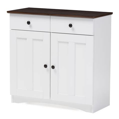 Two Door Cabinets Baxton Studio Modern And Contemporary Two Tone White And Brown Buffet Kitchen