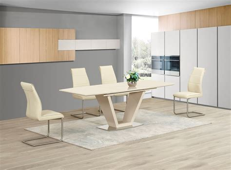 Extending Cream Glass High Gloss Dining Table & 6 Cream Chairs
