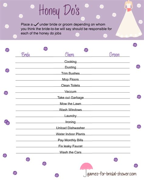 activities for bridal showers free printable honey do s for bridal shower
