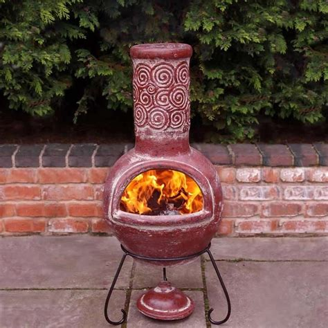 special large clay chiminea outdoor fireplace bistrodre