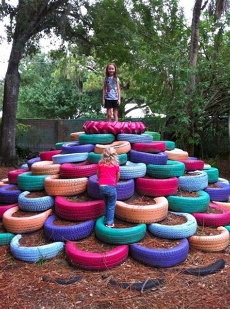 18 Upcycle Used Tires To Make A Playground