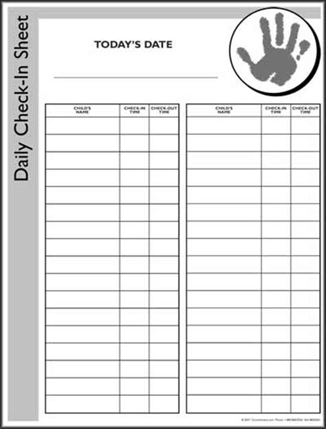nursery sign in sheet template nursery check in form 2