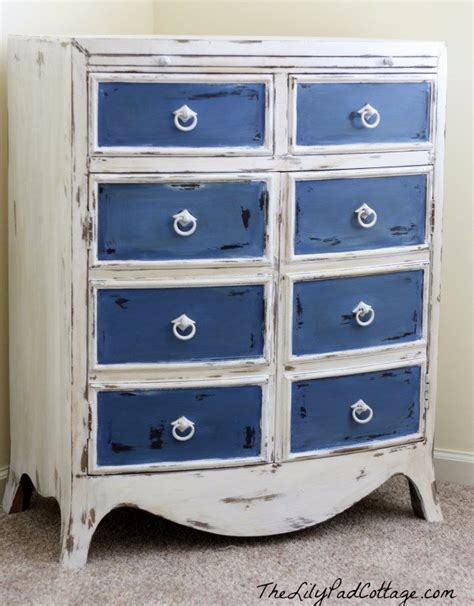 blue and white chalk painted dresser 40 incredible chalk paint furniture ideas