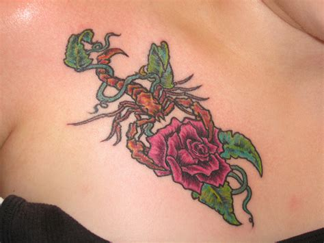 scorpion with rose tattoo scorpion wraped in vine holding flickr photo