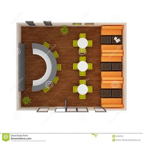 floor plan view inside cafe bar restaurant stock illustration image of