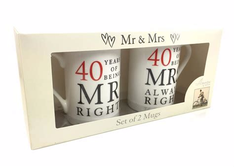 40th Wedding Anniversary What Gift by 40th Ruby Wedding Anniversary Gift Pair Of Mugs Wg67740