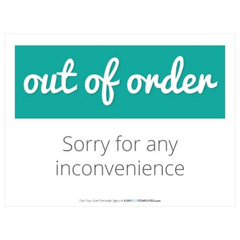 Out Of Order Free Printable Sign Template Free Printable Sign Templates Pinterest Products Out Of Order Sign Template