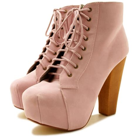 lace up wooden block heel concealed platform ankle