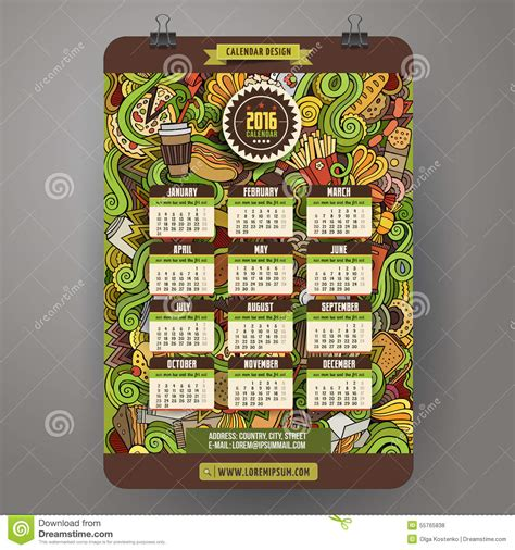 home food and design weekend 2016 doodles cartoon fast food calendar 2016 year stock vector