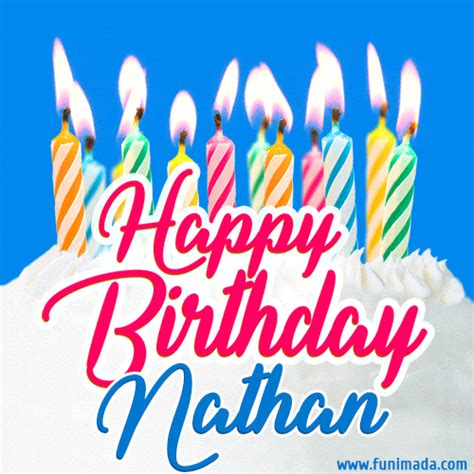 happy birthday gif  nathan  birthday cake  lit candles   funimadacom