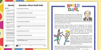 biography comprehension activity ks2 uks2 roald dahl differentiated reading comprehension activity