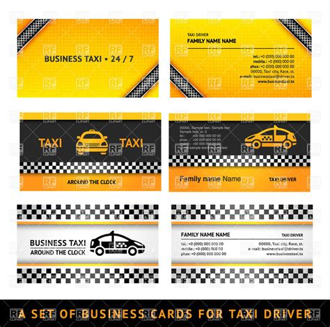 Education Card Transportation business card templates for taxi service royalty free vector clip image 17188 rfclipart