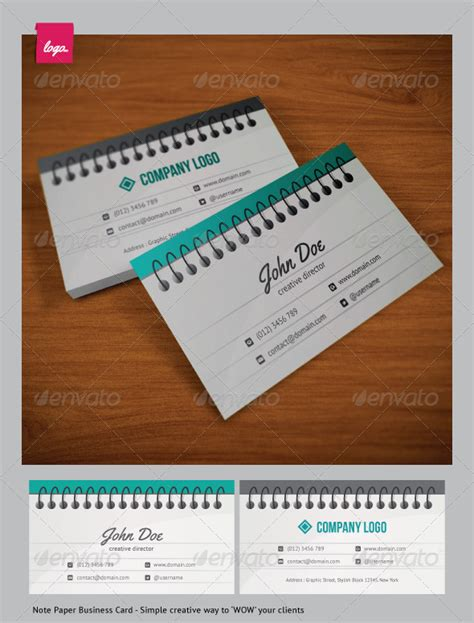 note paper business card graphicriver