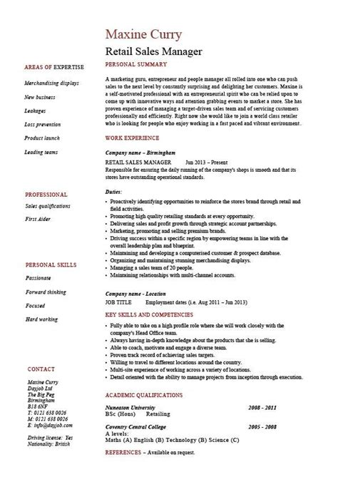 Free Sle Resume Retail Store Manager Retail Sales Manager Resume Exle Description Sle Template Marketing Business