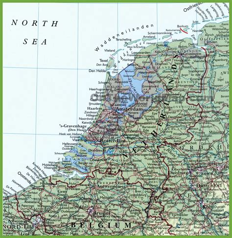 maps with towns detailed map of netherlands with cities and towns