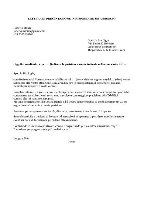 lettere di lavoro lettera di presentazione in risposta ad un annuncio docsity