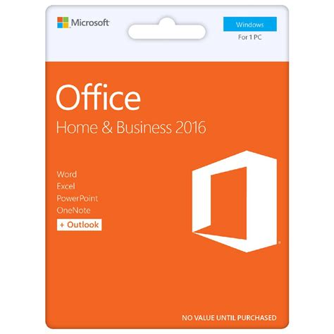 office home and business 2016 microsoft office home and business 2016 1 pc card