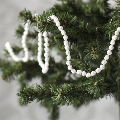 miniature white iridescent glitter snowball garland