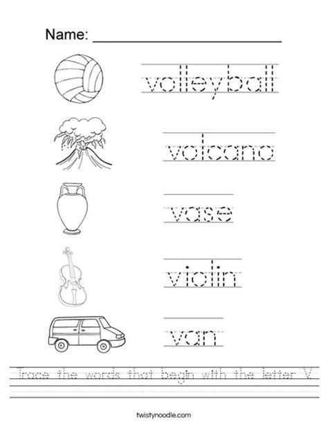 colors that start with v trace the words that begin with the letter v worksheet