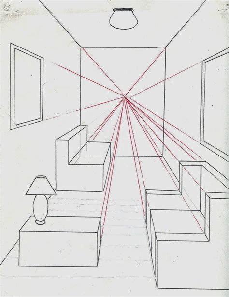 tutorial menggambar perspektif 1 titik lenyap menggambar ruangan dengan satu titik perspektif belajar