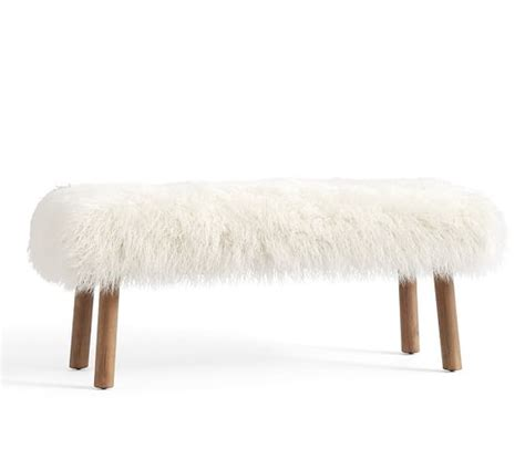 mongolian fur bench mongolian faux fur bench pottery barn