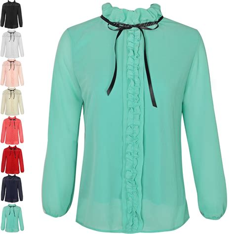 Bow Sleeve Chiffon Top womens sleeve polo neck chiffon top blouse