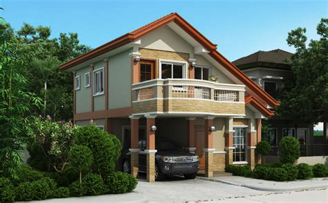 two storey house plan with balcony home design