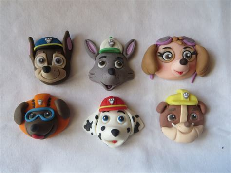 Paw Patrol Cake Decorations by Paw Patrol Fondant Cake Cupcake Topper Heads