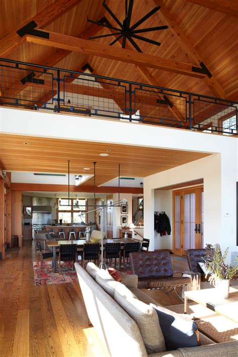 Loft railing ideas living room farmhouse with farm house