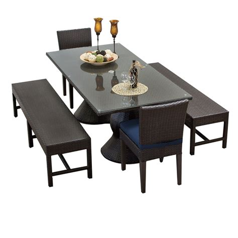 dining table and 2 benches tk classics napa rectangular outdoor patio dining table