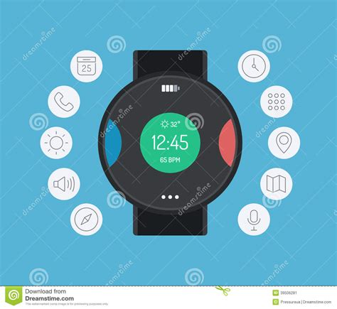 design app smartwatch smart watch design flat illustration concept stock vector