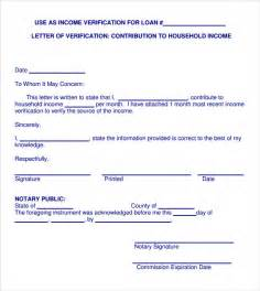 Proof Of Income Letter Template by Sle Income Verification Letter 5 Free Documents