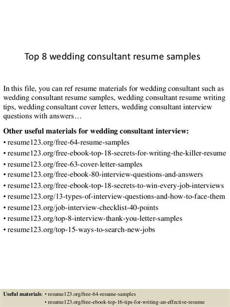 Bridal Consultant Sle Resume by Top 8 Wedding Consultant Resume Sles
