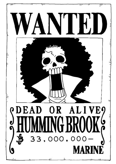wallpaper luffy hitam putih brook wanted poster by trille130 on deviantart